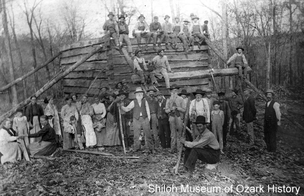 Cabin raising at Onda community (also known as Dripping Springs) near Prairie Grove (Washington County,Arkansas), about 1910.