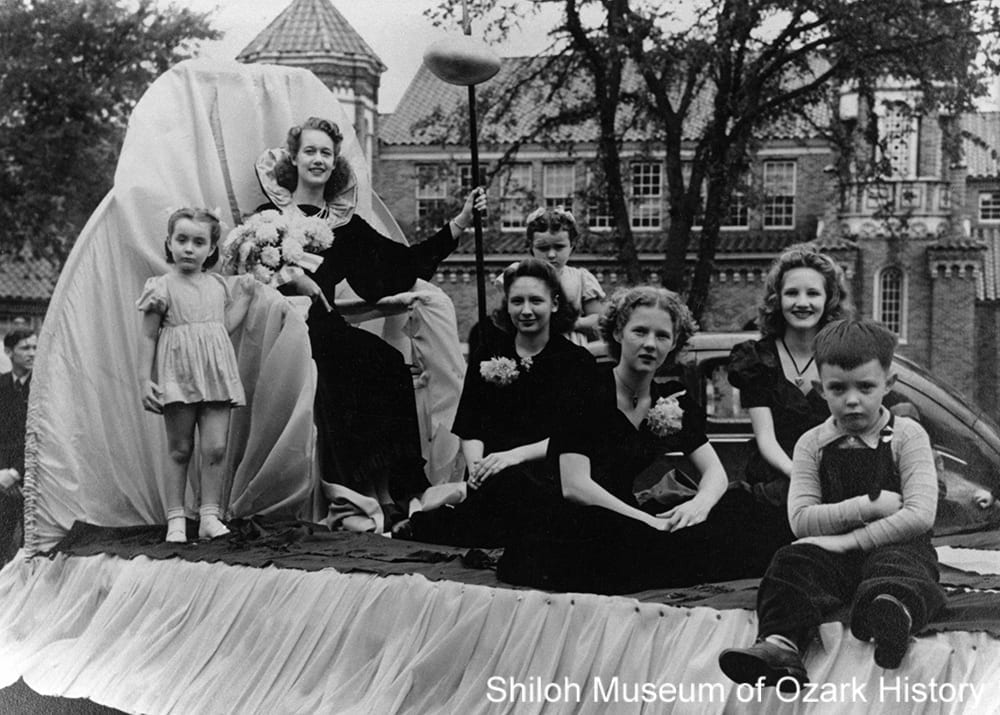 Helen Haxton (seated on throne), Bentonville High School Homecoming Queen 1941, Bentonville, Arkansas, October 24, 1941