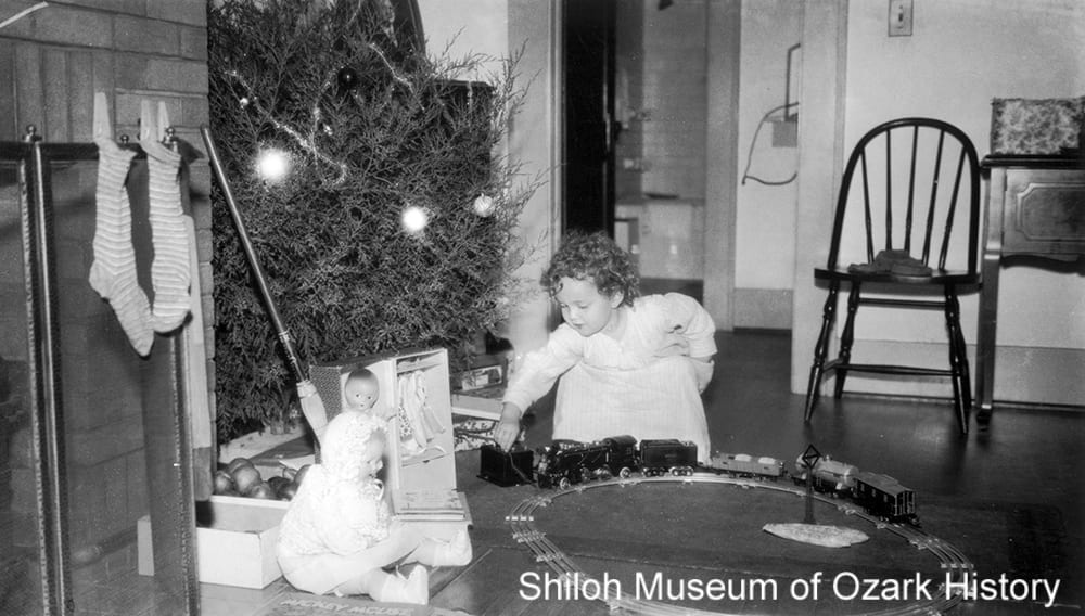 Ada Lee Smith with her Christmas presents, Fayetteville, Arkansas, December 25, 1931.