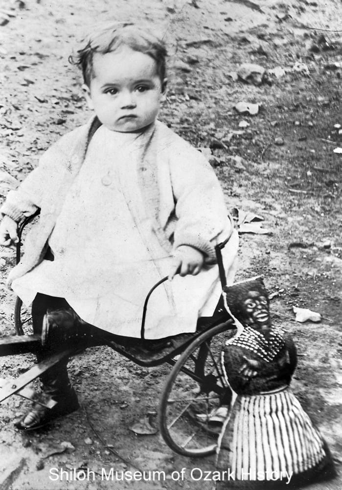 Unidentified girl with her mammy doll, probably Northwest Arkansas, circa 1900
