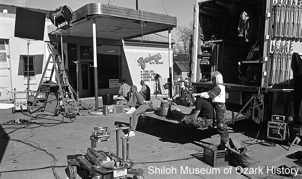 Crew and gear in-between scenes of Man Outside, Fayetteville, Arkansas, 1985