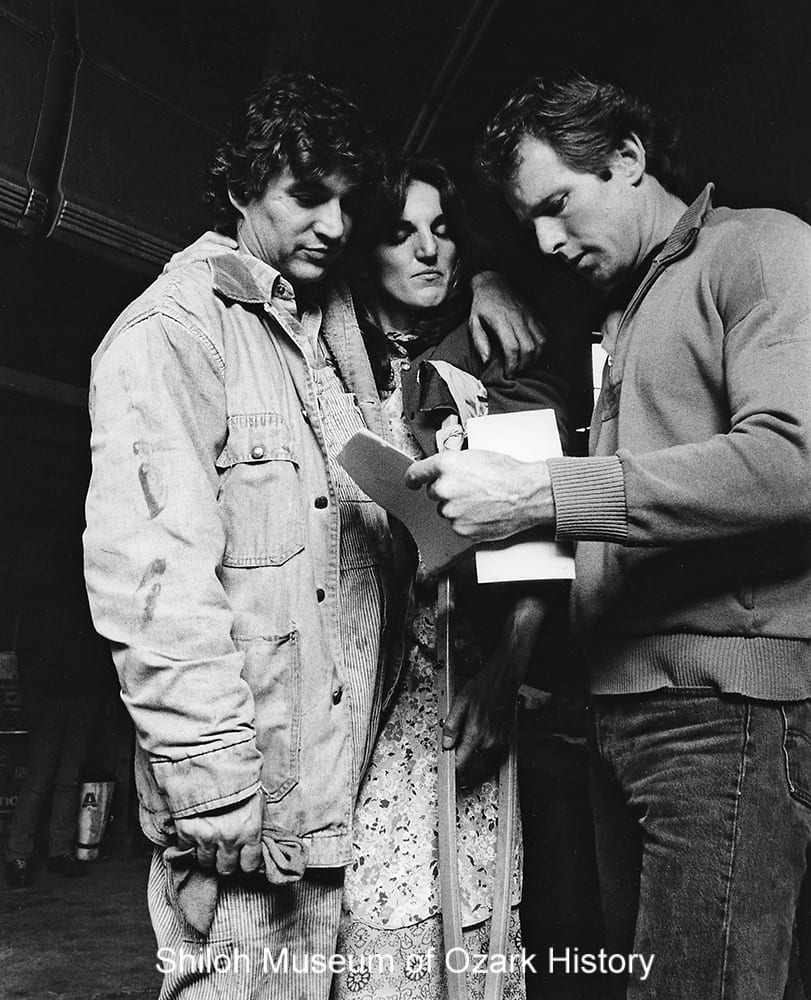 Actors Rick Danko and Patricia Relph (left) discuss a scene with Man Outside director Mark Stouffer, Fayetteville, Arkansas, 1985