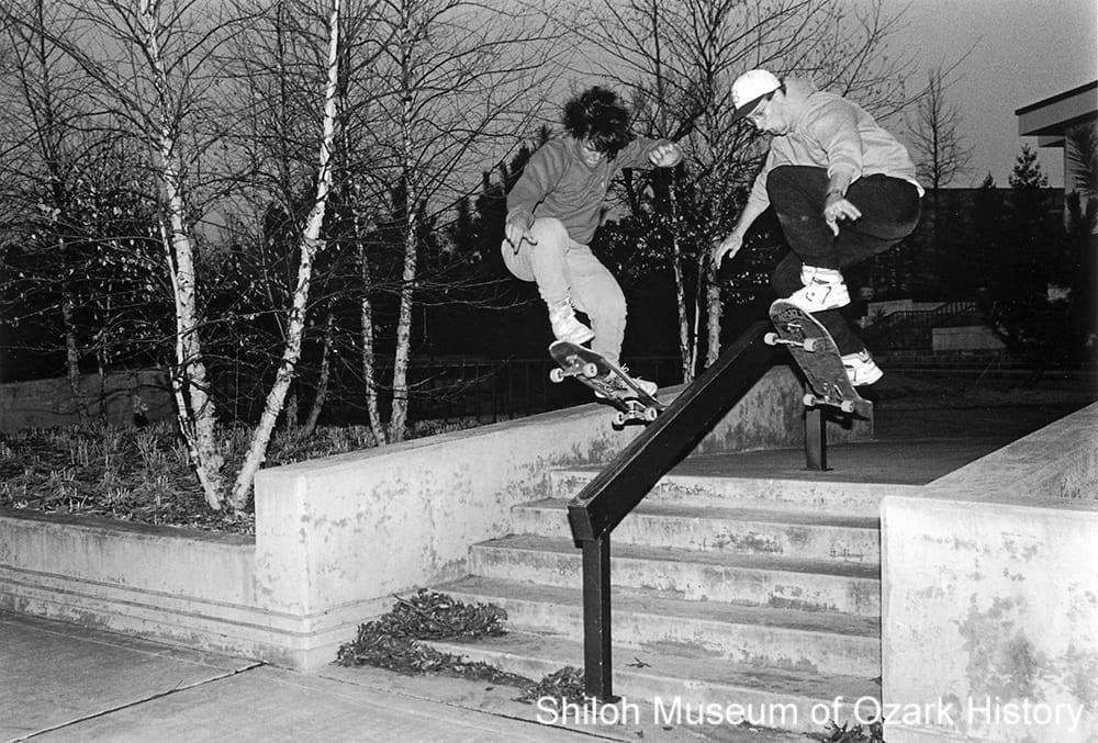 Skateboarders on the University of Arkansas campus, Fayetteville, January 1990.