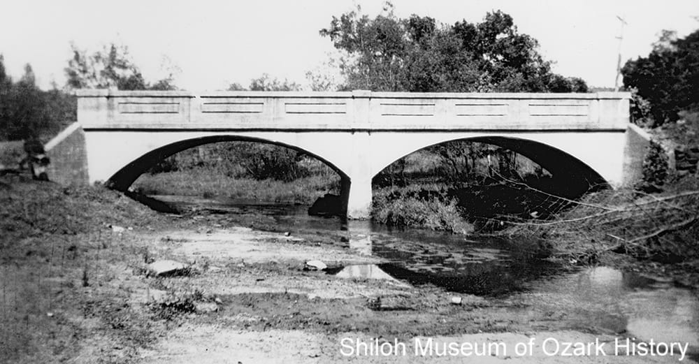 Jordan Creek bridge, Cane Hill (Washington County, Arkansas), 1930s. Washington County Historical Society Collection (P-208)