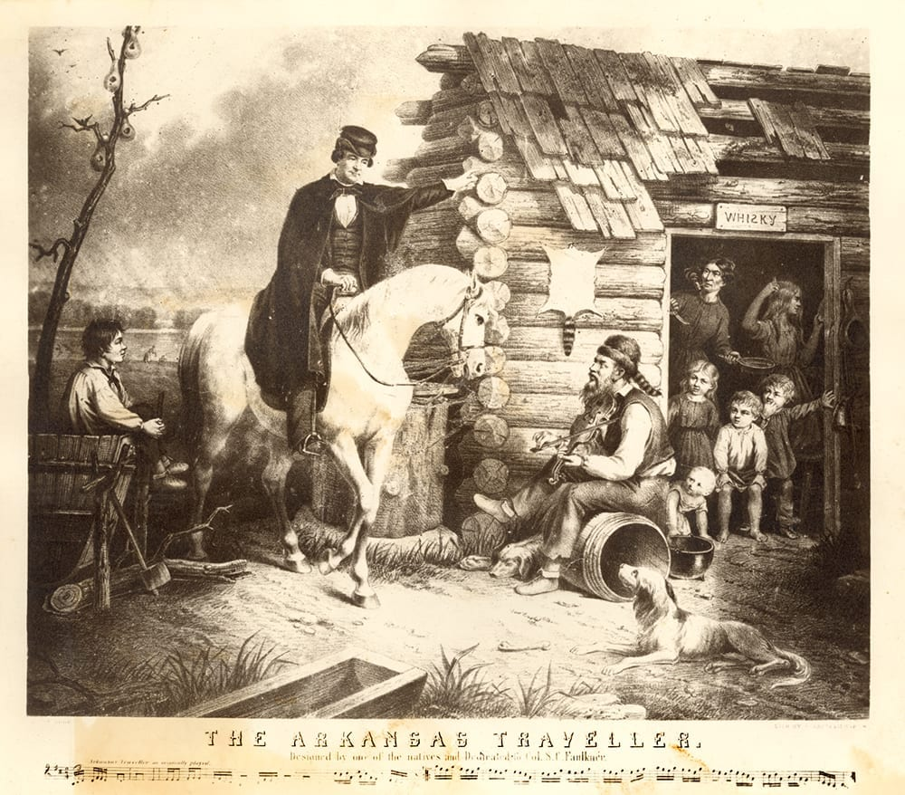 The Arkansas Traveler by Currier & Ives, 1870, after a painting by Edward Payson Washburn.