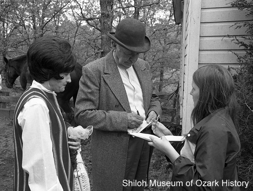 Walter Brennan signs autographs, Winslow, Arkansas, 1971