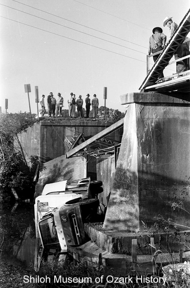 Bridge collapse on Highway 112 over Clear Creek at Greathouse Springs (Washington County, Arkansas), July 31, 1974.