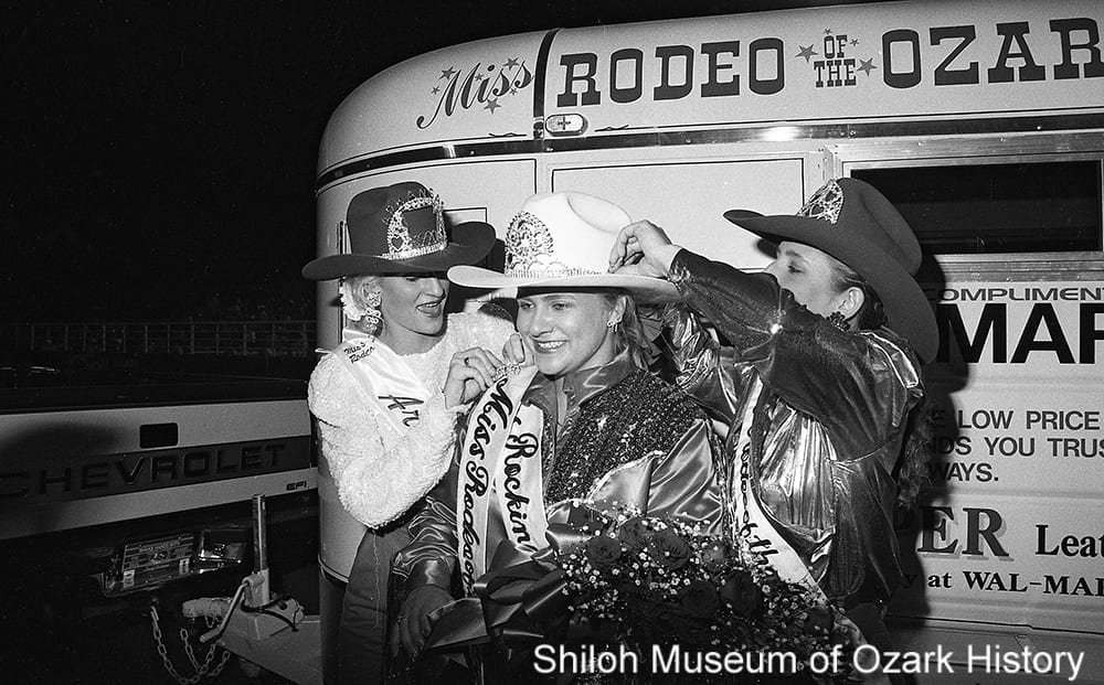 Sherri Ware (center), Miss Rodeo of the Ozarks 1991, Parsons' Stadium, Springdale, Arkansas, July 4, 1990.