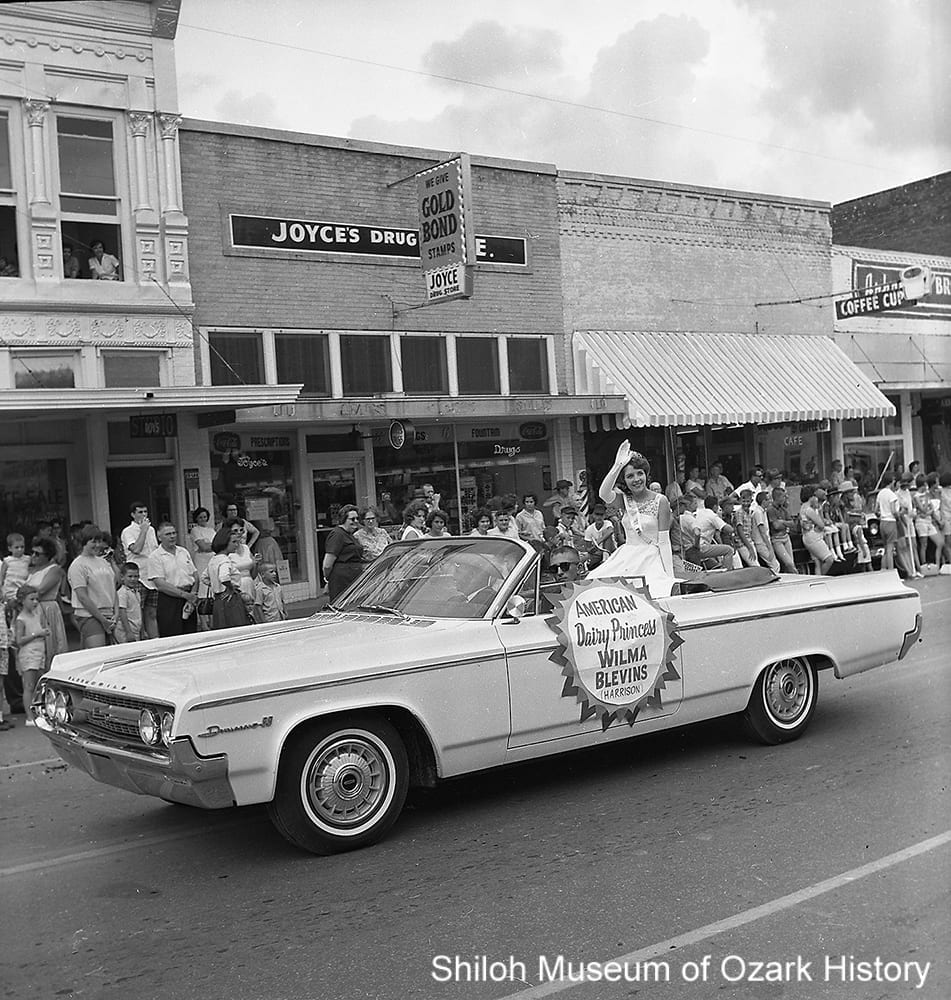Wilma Lea Blevins, American Dairy Princess 1964, Rodeo of the Ozarks Parade, Springdale, Arkansas, July 2, 1964.