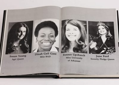 Razorback annual featuring Dinah Gail Gant, Miss BAD 1975, University of Arkansas, Fayetteville, 1975.