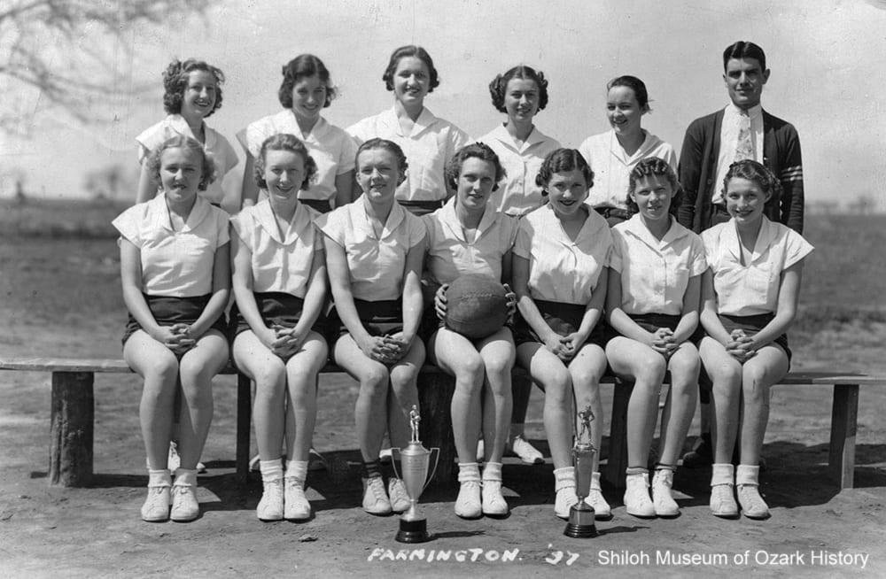 Farmington girls basketball team, Farmington (Washington County), Arkansas, 1937.