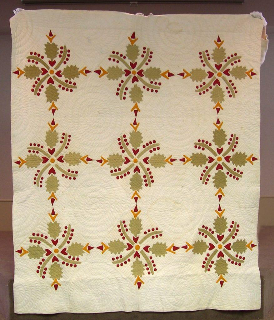 Oak Leaf and Cherries applique quilt