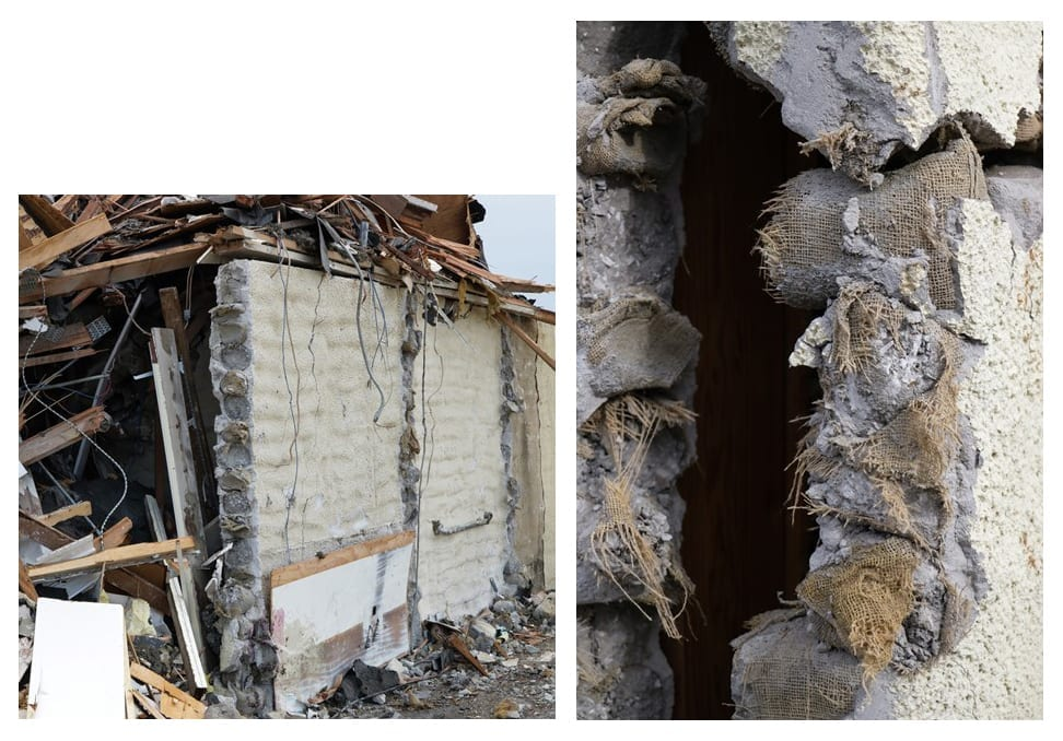 Remaining wall (left) with exposed burlap ends of Stack-Sack building, Springdale, Arkansas