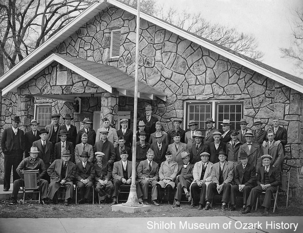 Members of Clarence Beely Post 139 at the American Legion Hut, Springdale, about 1937.