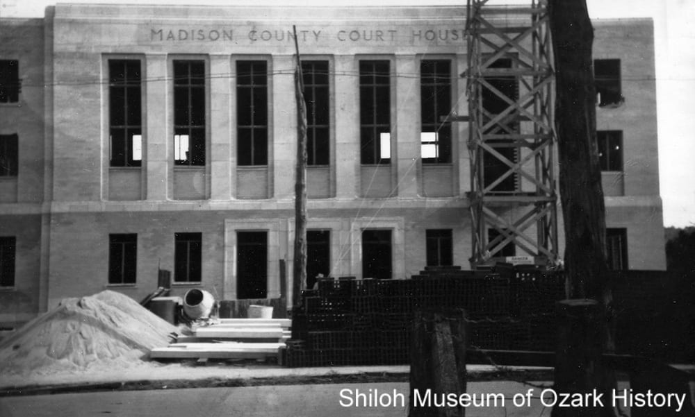 Construction of the Madison County Courthouse, Huntsville, Arkansas,1939.