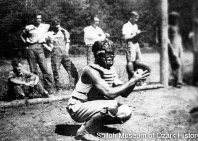 Baseball game, Devil's Den CCC camp,1930s.