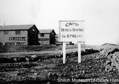 Camp entrance and barracks, Devil's Den, near Winslow (Washington County, Arkansas), 1934.
