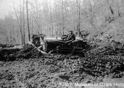 Bulldozer work, Devil's Den CCC camp, 1934.
