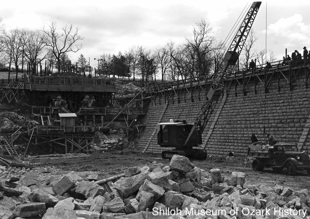 Building the dam, Lake Wedington, circa 1937-1938.