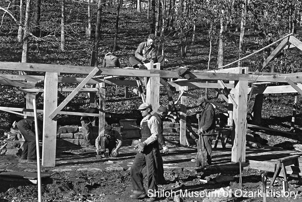 Workers building a structure, Lake Wedington (Washington County), about 1937-1938.