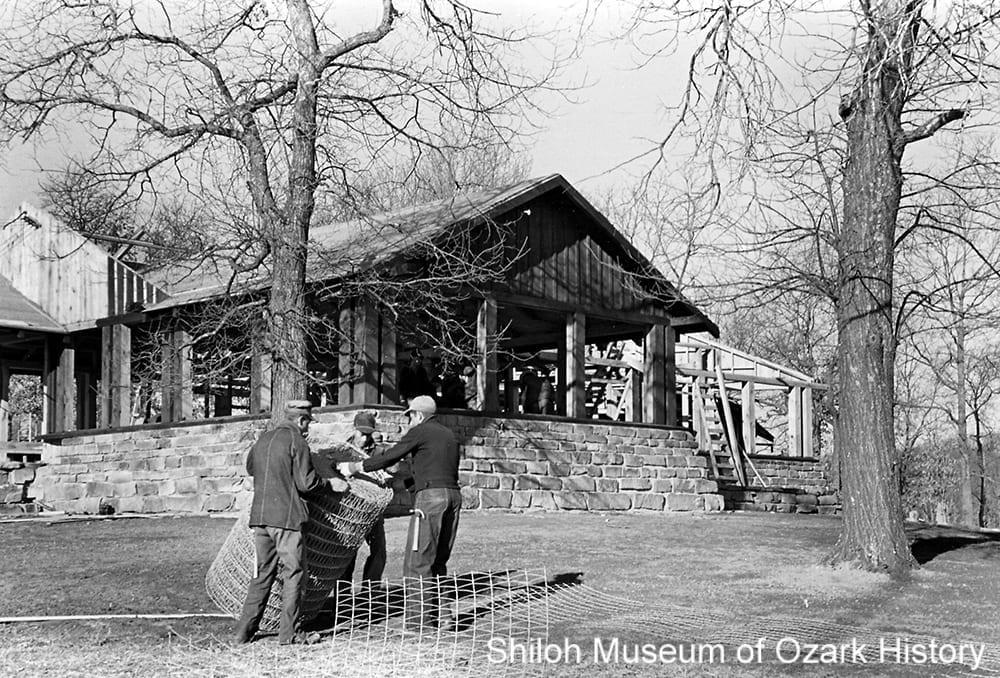 Cabin nearing completion, Lake Wedington, circa 1937-1938.