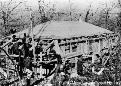 Building a cabin, Devil's Den CCC camp,1930s.
