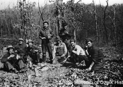 Wienie roast, Devil's Den CCC camp,1930s.