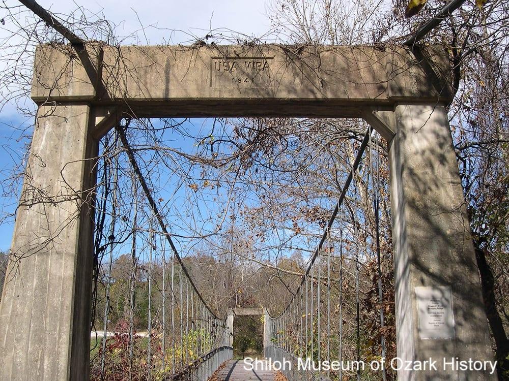 Haggard Ford Swinging Bridge, near Harrison (Boone County), November 2015.