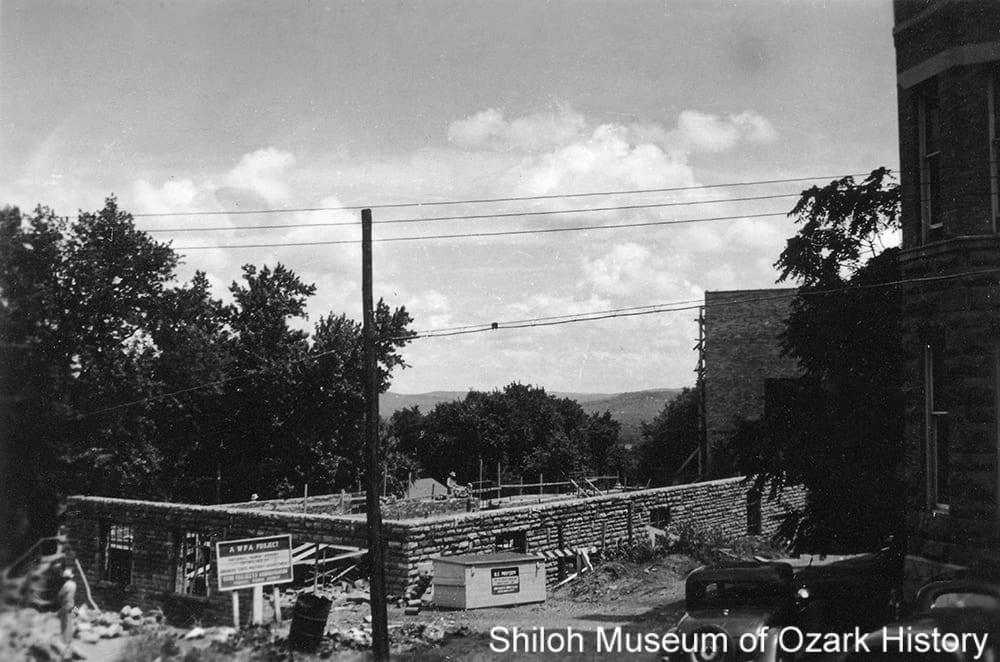 Garage construction, National Guard Armory, Fayetteville (Washington County), circa 1940.