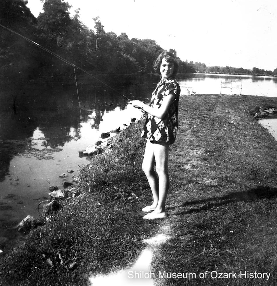 Margaret Becker Lester fishing at Lake Atalanta, Rogers (Benton County), early 1950s.