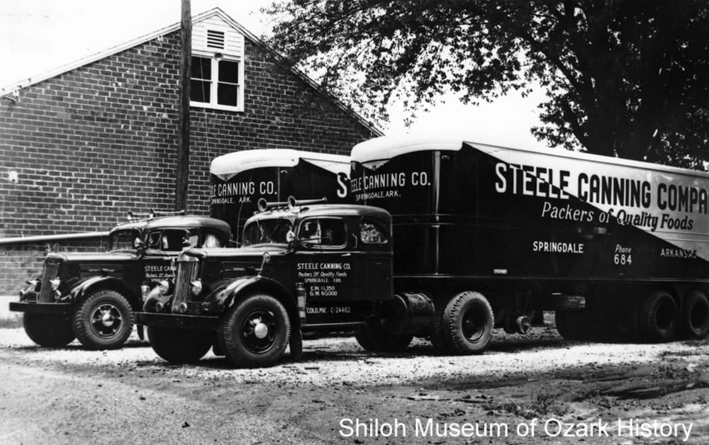 Steele Canning Company trucks, Springdale, 1940s-1950s.