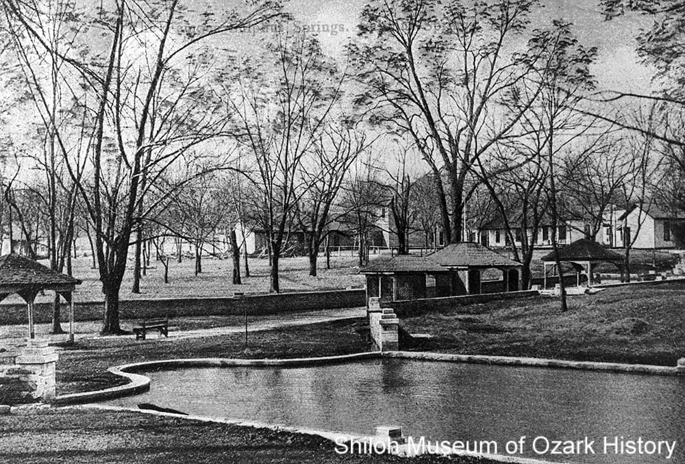 Pavilions for the black sulphur, white sulphur, and magnesia springs, Sulphur Springs, Arkansas,circa 1912.