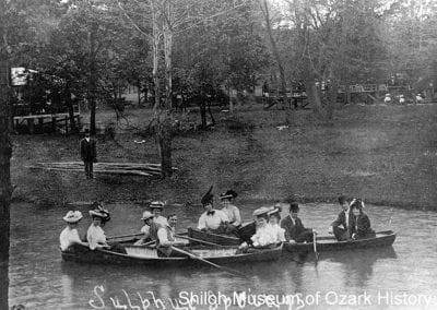 Boating on Lake LaBalladine, Sulphur Springs, Arkansas, circa 1910.