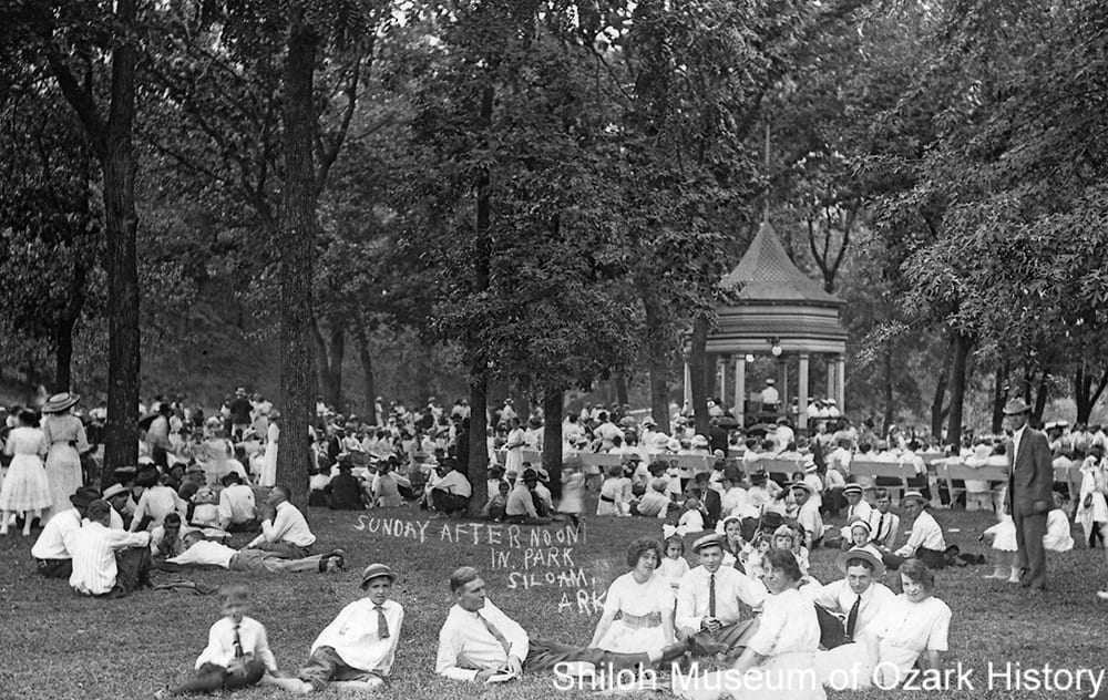 Band concert, City Park, Siloam Springs, Arkansas, circa 1910.