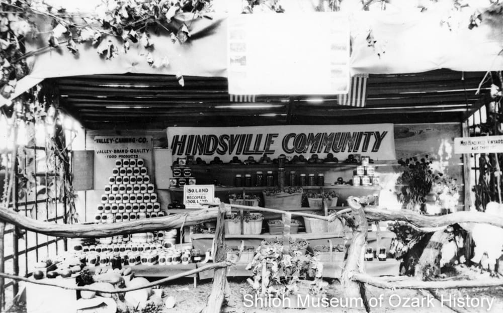 Valley Canning Company display, Hindsville, Arkansas, 1920s