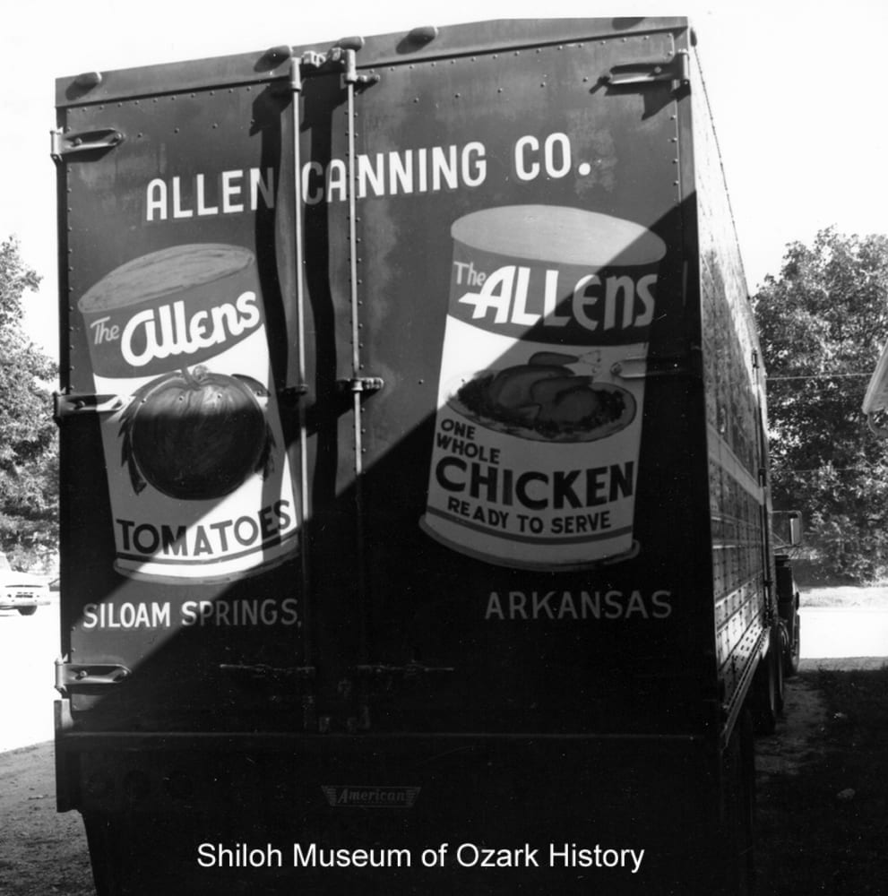 Allen Canning Company truck, Siloam Springs, Arkansas, July 23, 1964.