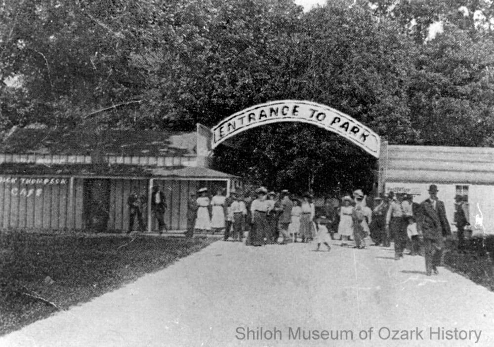 Entrance to the city park, Sulphur Springs, Arkansas, 1900s