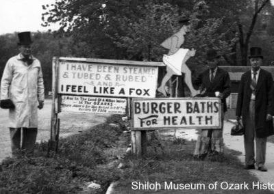 Burger Bathhouse sign, 1930s–`949s, Sulphur Springs, Arkansas