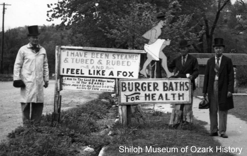 Burger Bathhouse sign, 1930s–1940s, Sulphur Springs, Arkansas