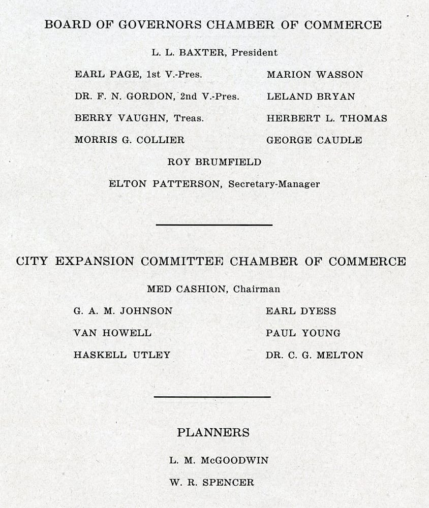 Authors and contributors to the Six Year Public Works Program and Master City Plan, Fayetteville, Arkansas, 1945.