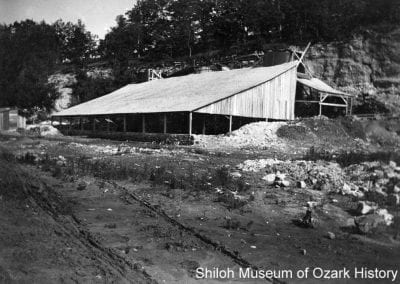 New shed built to protect three kilns and the processed lime from flood damage, Ozark White Lime Company, Johnson, Arkansas, 1908.