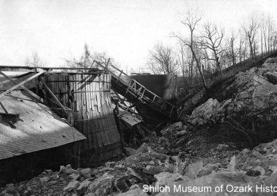 Storm-damaged kiln and tramway, Ozark White Lime Company, Johnson, January 1909.