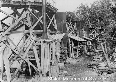 Kiln yard with stacks of cordwood, Ozark White Lime Company, Johnson, Arkansas, circa 1908.