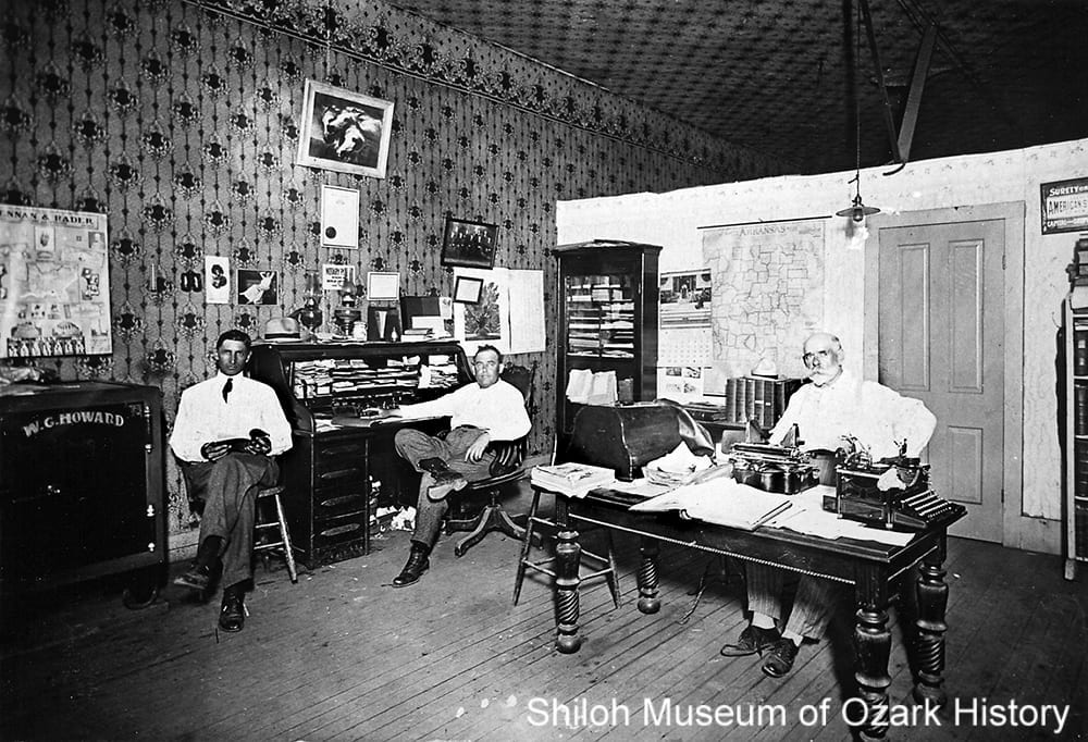 Guy Howard's law office, Springdale, Arkansas, circa 1920.