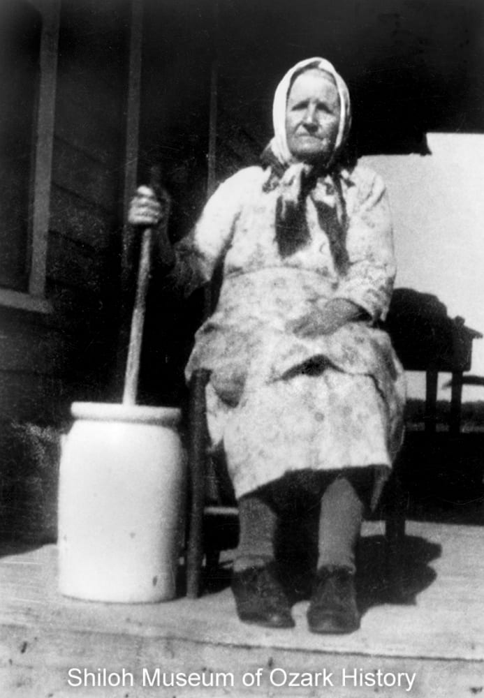 Annie Watson with her butter churn, Springdale, Arkansas,, 1940s.