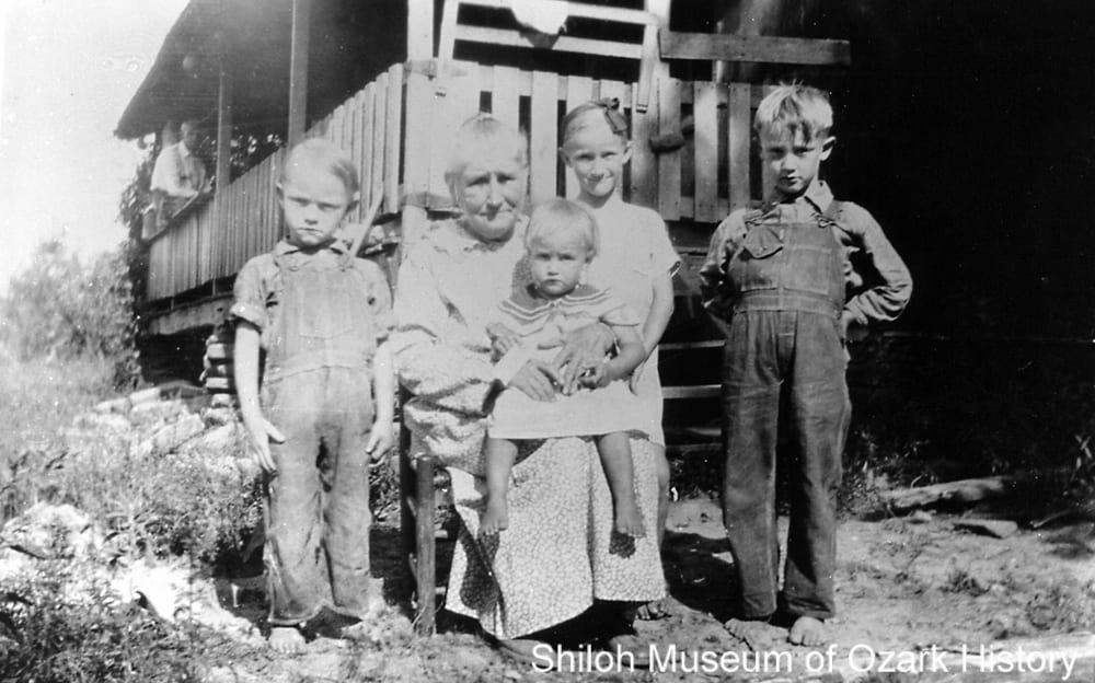 Lillie Maude Rogers Ball and grandchildren, Madison County, Arkansas, circa 1930s
