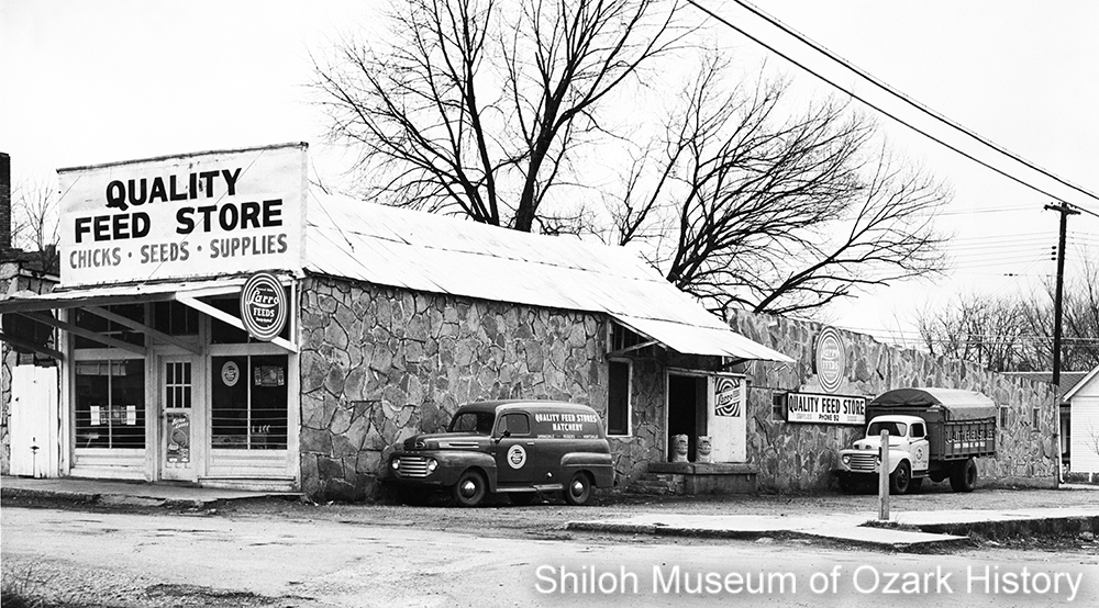 Quality Feed Store and Hatchery, possibly Rogers, Arkansas, mid-1950s.