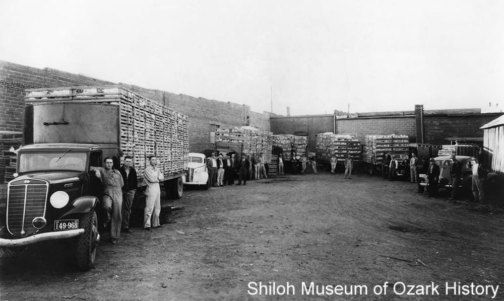 George's Inc. trucks loaded for market with live chickens, Springdale, Arkansas, May 1937. With Luther George, third from left.