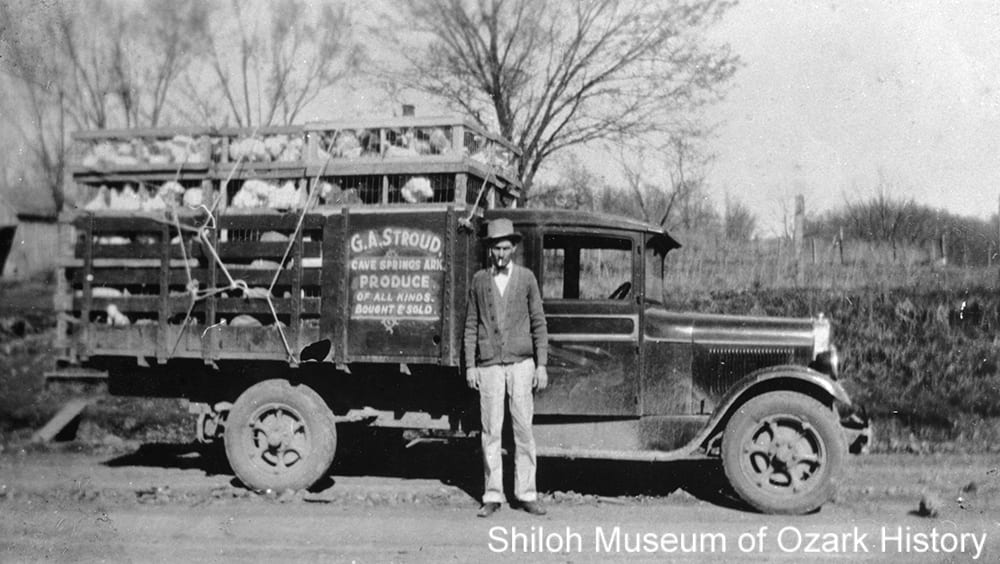 Chickens going to market in G. A. Stroud Produce truck, Cave Springs, Arkansas, 1920s-1930s