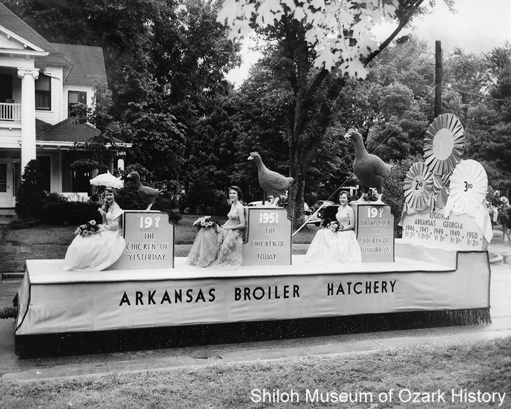 Arkansas Broiler Hatchery float in the National Chicken-of-Tomorrow Contest parade, Fayetteville, Arkansas, June 15, 1951.